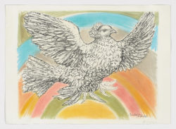 Flying dove in a rainbow, 1960, Pablo Picasso
